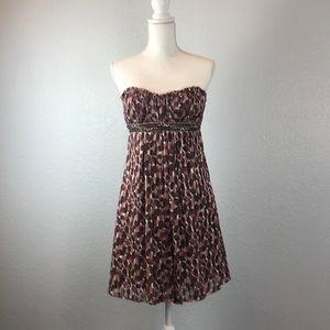 BCBGMaxAzaria pink/wine/brown silk beaded dress